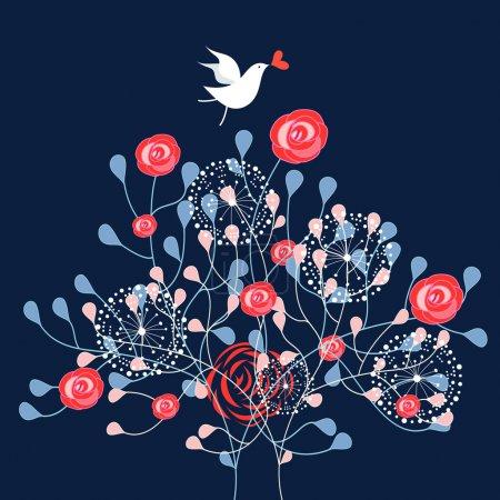 Ornamental shrub and bird