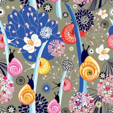 Photo pour Motif floral lumineux sans couture avec des escargots inhabituels sur un fond brun - image libre de droit