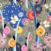 Květinová textury s hlemýždi