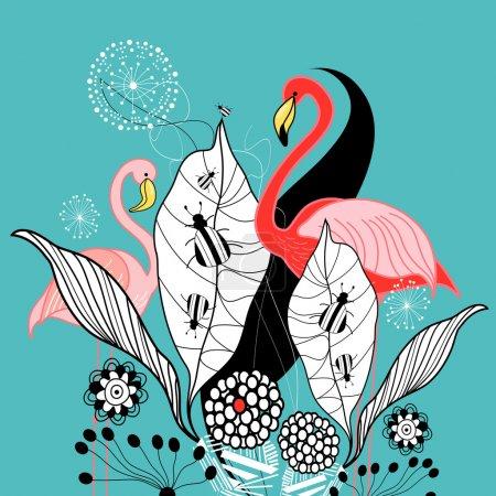 Plants and flamingos
