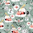 Seamless pattern of the cats in their seats, and t...