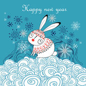 Graphical greeting new year card with a hare on a blue background