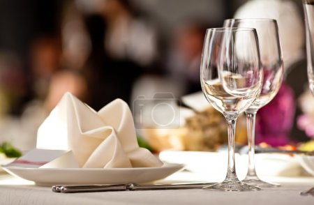 Photo for Empty glasses set in restaurant. Part of interior - Royalty Free Image