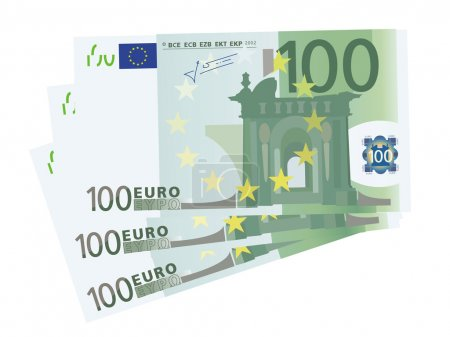 Vector drawing of a 3x 100 Euro bills (isolated)