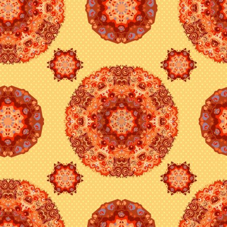 Ornamental round seamless floral lace pattern. vector