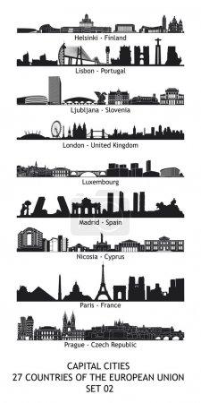Photo pour Ensemble de 27 skylines des capitales de l'Union européenne - set 02 - image libre de droit