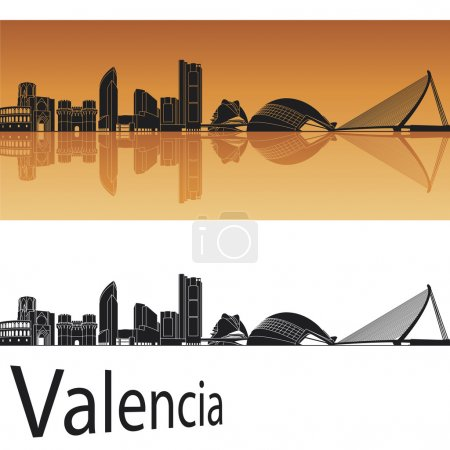 Valencia skyline in orange background in editable vector file