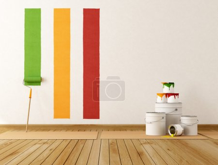 Photo for Select color swatch to paint wall - rendering - Royalty Free Image
