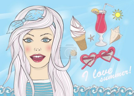 Background with fashion girl and summer elements