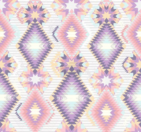 Illustration for Abstract geometric seamless aztec pattern. Colorful ikat style pattern. - Royalty Free Image
