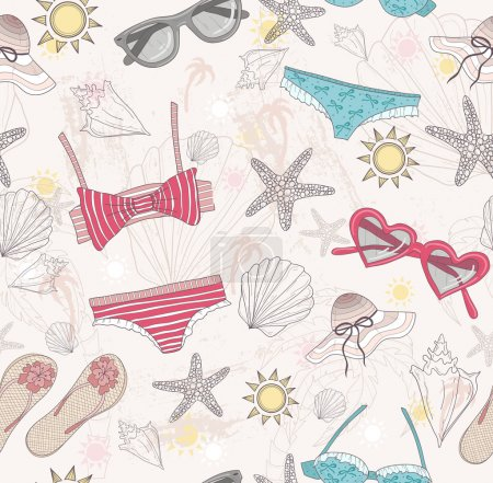 Illustration for Cute summer abstract pattern. Seamless pattern with swimsuits, sunglasses, suns, stars, and seashells . Fun pattern for children or teenager girls. - Royalty Free Image