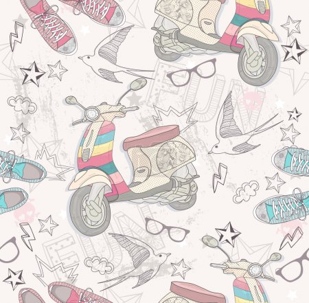Photo for Cute grunge abstract pattern. Seamless pattern with shoes, retro scooter, glasses, stars, thunders and birds. Fun pattern for children or teenagers. - Royalty Free Image