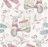 Cute grunge abstract pattern Seamless pattern with shoes retro scooter glasses stars thunders and birds Fun pattern for children or teenagers
