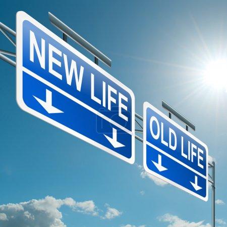 Photo pour Illustration représentant un portique route signe avec une nouvelle vie ou le vieux concept de vie. fond de ciel bleu. - image libre de droit