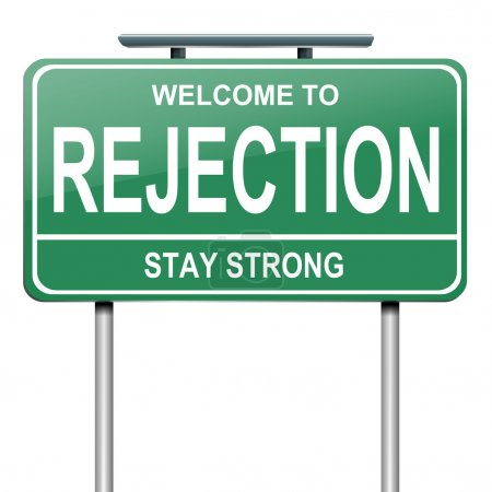 Photo pour Illustration représentant un roadsign vert avec un concept de rejet. fond blanc. - image libre de droit