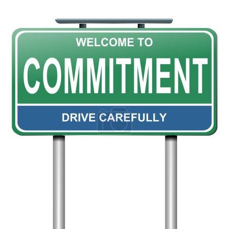 Photo pour Illustration représentant un roadsign vert et bleu avec un concept d'engagement. fond blanc. - image libre de droit