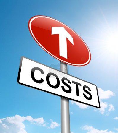 Photo pour Illustration représentant un panneau routier avec un concept d'augmentation des coûts. Fond bleu ciel . - image libre de droit