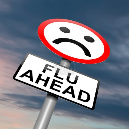 Illustration depicting a roadsign with a flu conce...