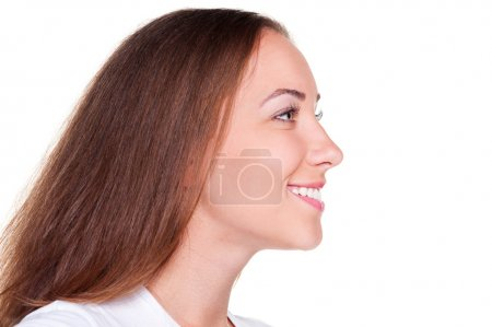 Side view of beautiful woman