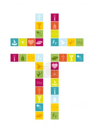Christian religion symbols colorful