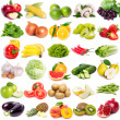 Collection of fruits and vegetables on white backg...