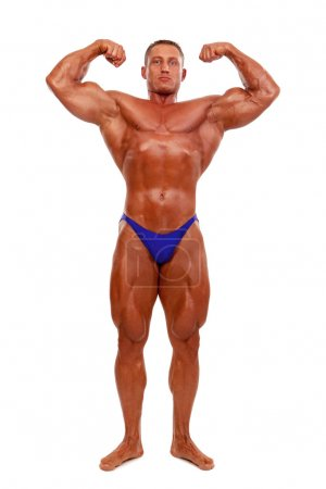 Attractive male body builder, demonstrating contest pose, isolat