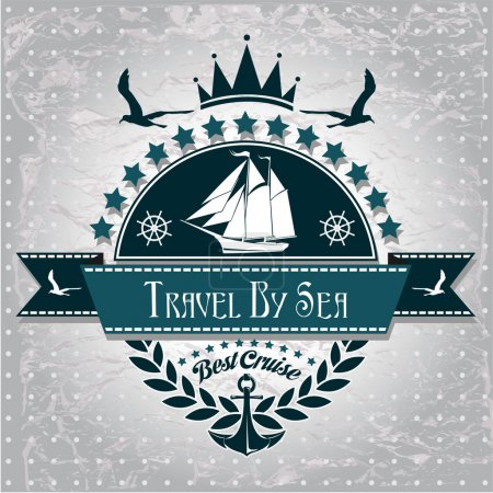 Illustration for Vintage label with maritime character - Royalty Free Image