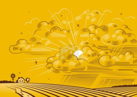 Illustration for Retro landscape with clouds over fields in woodcut style. Vector illustration with clipping mask. - Royalty Free Image