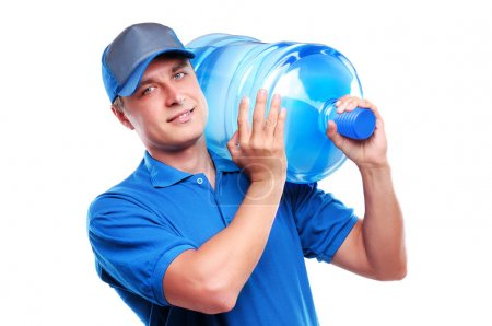 Courier of bottled water delivery service holding ...