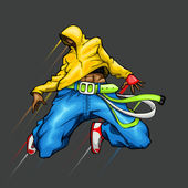 Illustration of cool guy in dancing pose