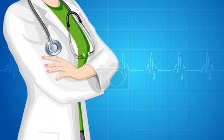 Illustration for Illustration of lady doctor with stethoscope on medical background - Royalty Free Image