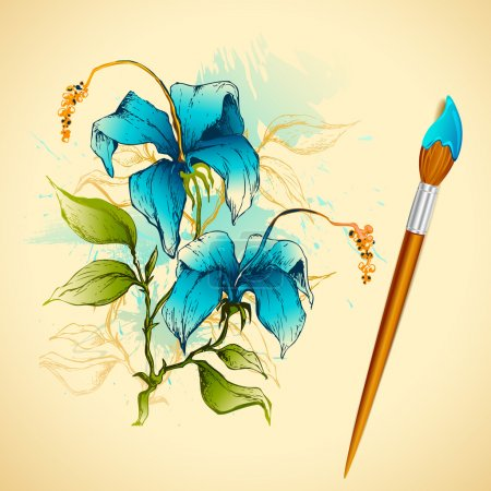 Illustration for Illustration of watercolor painting of flower with brush - Royalty Free Image