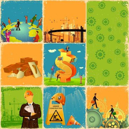 Illustration pour Illustration du collage avec différents concepts de l'industrie - image libre de droit