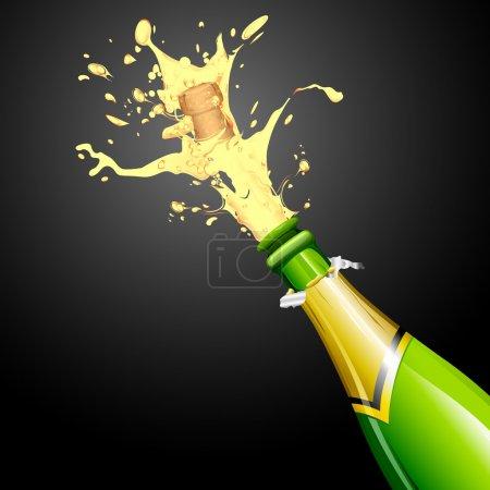 Illustration pour Illustration de l'explosion du bouchon de bouteille de champagne - image libre de droit