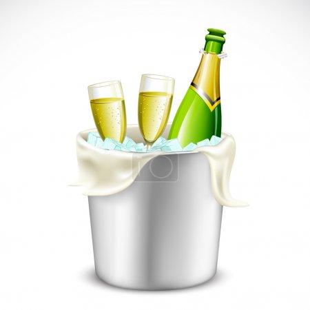 Illustration pour Illustration du verre de champagne et de la bouteille dans un seau rempli de glace - image libre de droit