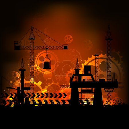 Photo for Illustration of industrial backdrop with crane and cogwheel - Royalty Free Image