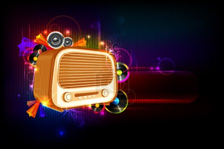 Illustration of vintage style radio on abstract mu...