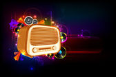 Illustration of vintage style radio on abstract musical background