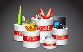 Illustration of display of various product in sale kept on platform