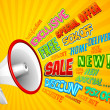 Illustration of sale and promotion related word co...