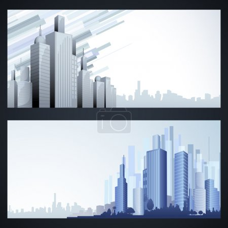 Illustration for Illustration of high modern building in cityscape template - Royalty Free Image