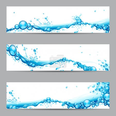Illustration for Illustration of set of banner with water splash - Royalty Free Image