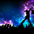Illustration of rock star performing with guitar o...