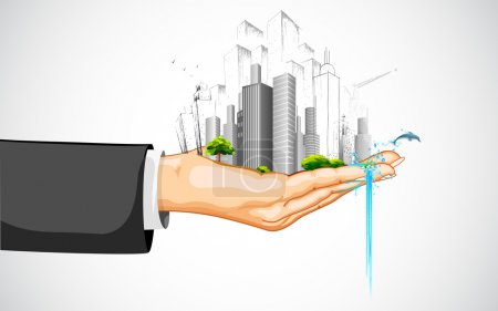 Illustration for Illustration of man holding cityscape with building on palm - Royalty Free Image
