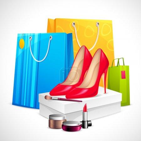Illustration pour Illustration de chaussures et cosmétiques avec sac à provisions montrant la vente - image libre de droit