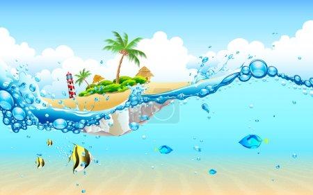 Illustration pour Illustration de la vue de l'île sous-marine - image libre de droit