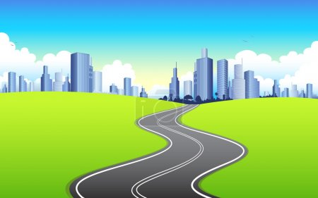 Photo for Illustration of highway road going to urban city - Royalty Free Image