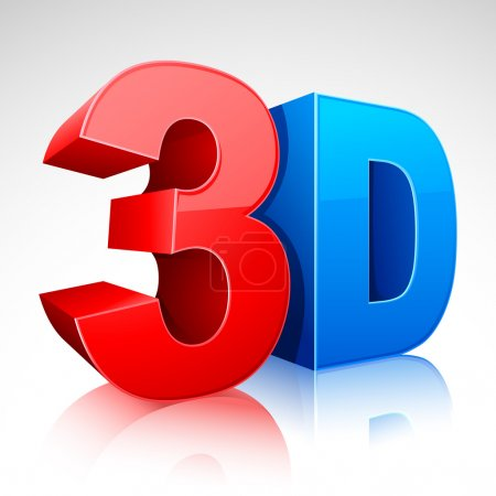 Illustration of 3D word written in red and blue co...