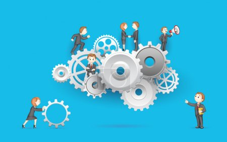 Illustration for Illustration of business on cog wheel showing team work - Royalty Free Image