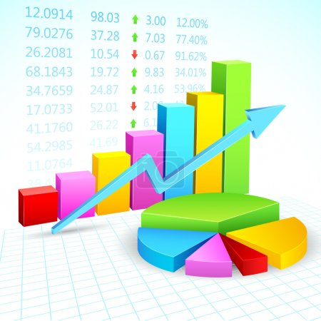 Illustration for Illustration of business financial graph with stock listing - Royalty Free Image